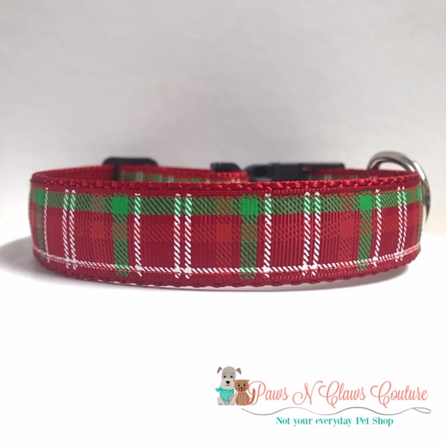 "1"" Red, White, and Green Plaid Dog Collar - Paws N Claws Couture"