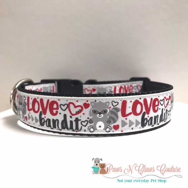 "1"" Love Bandit Dog Collar - Paws N Claws Couture"