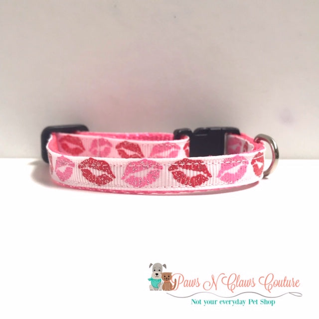 "3/8"" Pink & Red Glitter Lips Cat or Small Dog Collar"