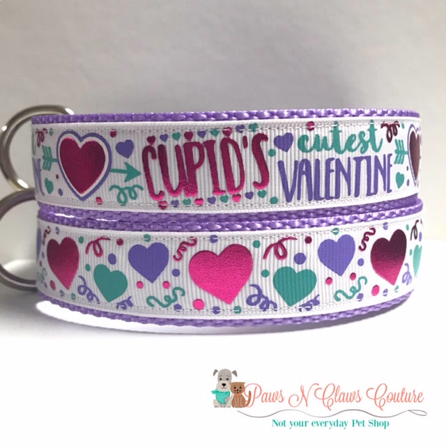 "1"" Cupids Cutest Valentine or Hearts and Confetti Dog Collar"