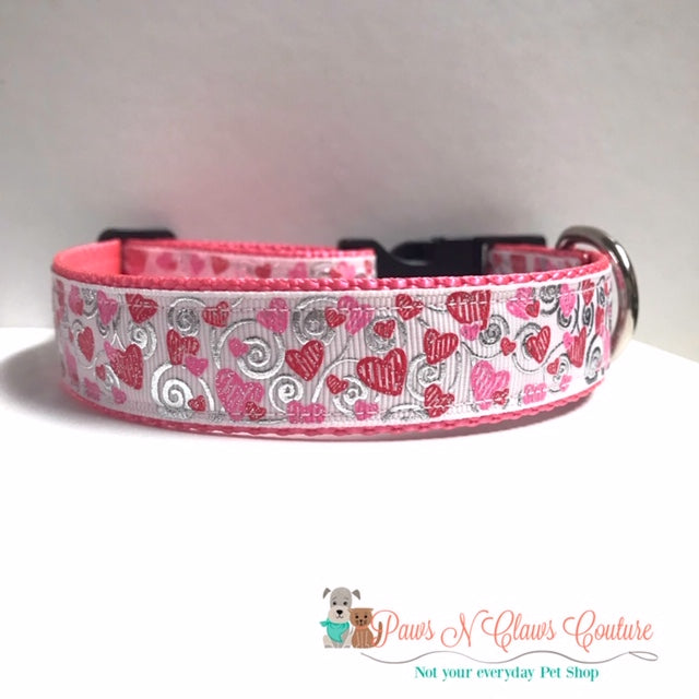 "1"" Scribble Hearts on White Dog Collar - Paws N Claws Couture"