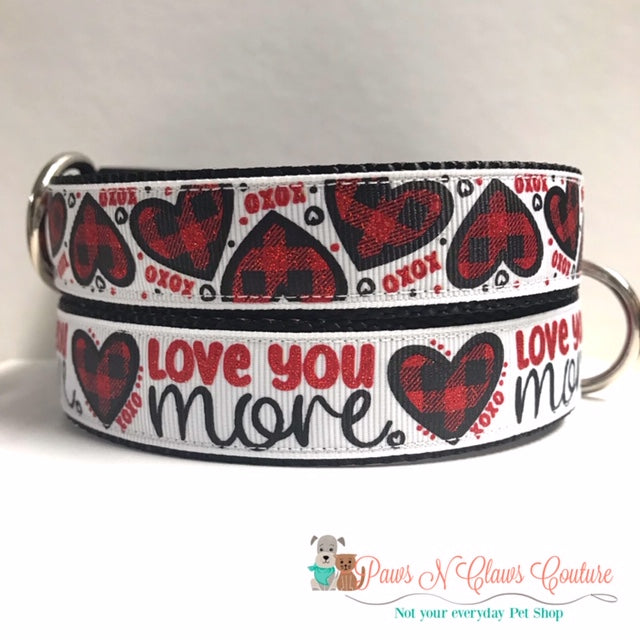 "1"" Love you More or Plaid Hearts Dog Collar"