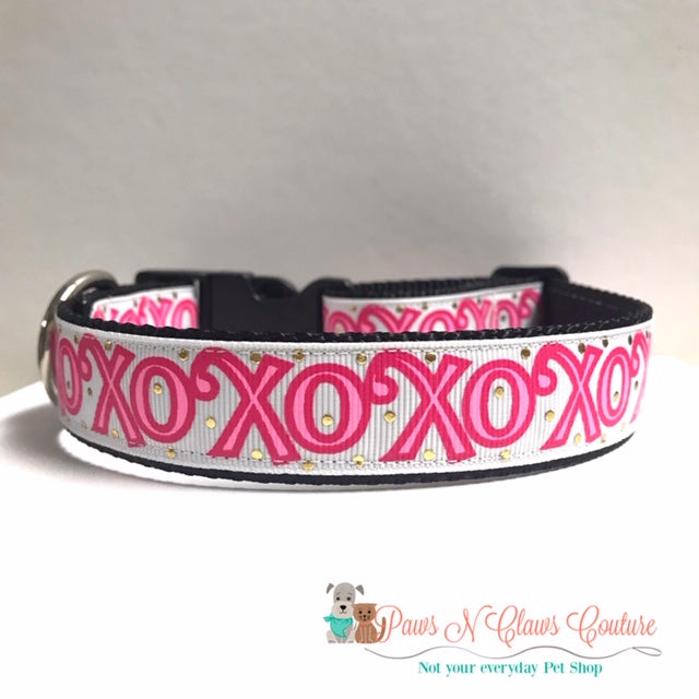 "1"" XOXO Pink Dog Collar - Paws N Claws Couture"