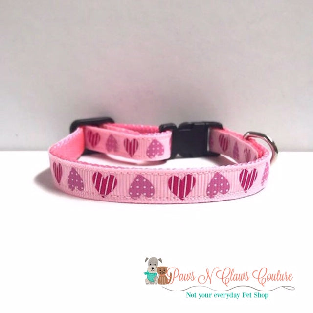 "3/8"" Dots and Stripes Hearts Cat or Small Dog Collar - Paws N Claws Couture"