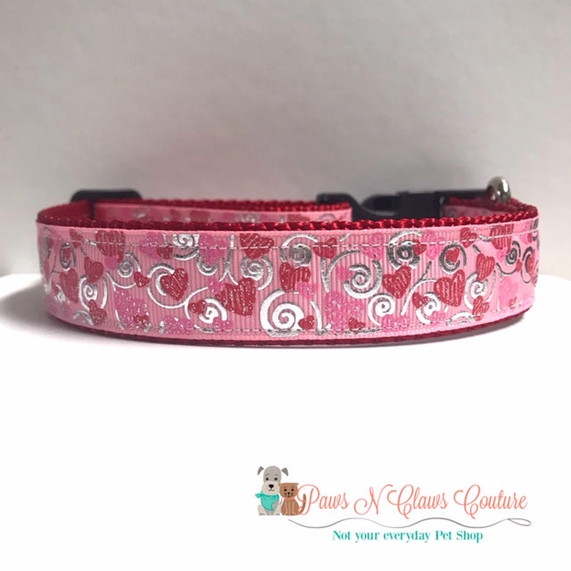 "1"" Scribble Hearts on Light Pink Dog Collar"