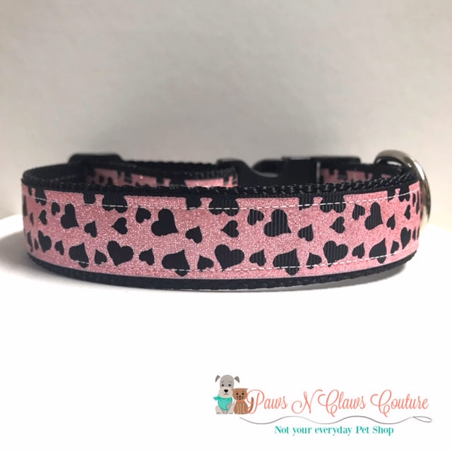 "1"" Light Pink with Black Cut out Hearts Dog Collar, Leash Available - Paws N Claws Couture"