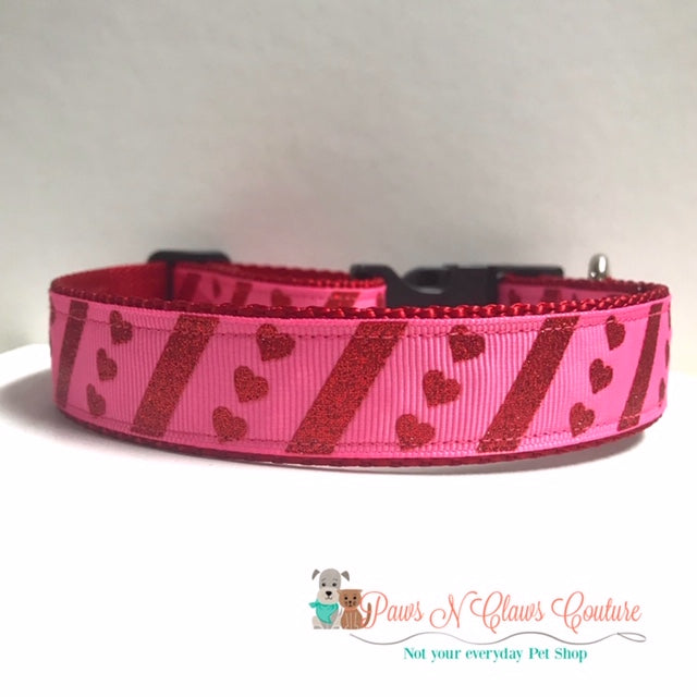 "1"" Glitter Hearts and Stripes Dog Collar - Paws N Claws Couture"