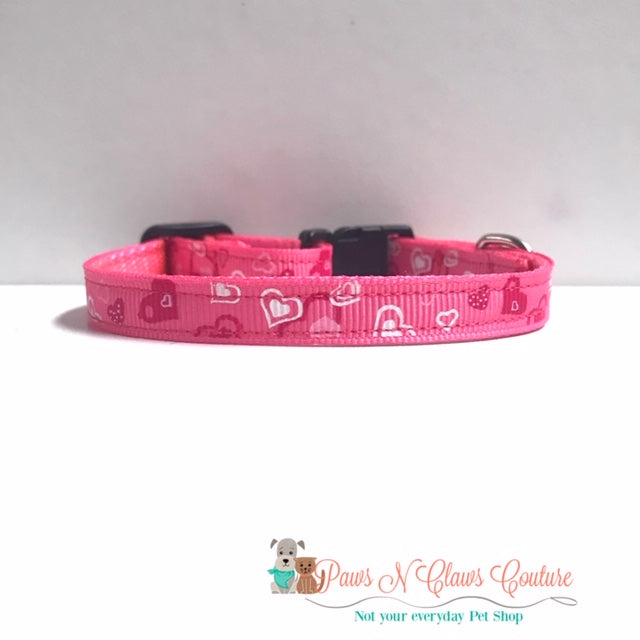 "3/8"" Hearts on Pink Cat or Small Dog Collar - Paws N Claws Couture"