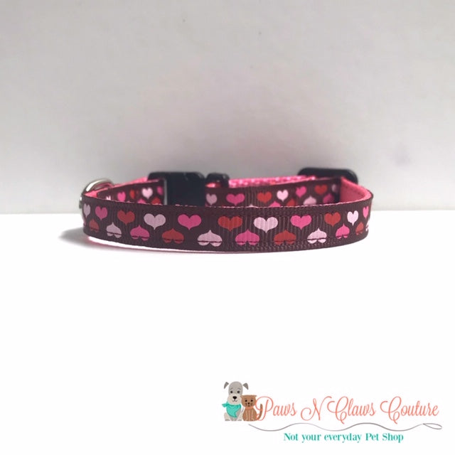 "3/8"" Mini Hearts Cat or Small Dog Collar - Paws N Claws Couture"