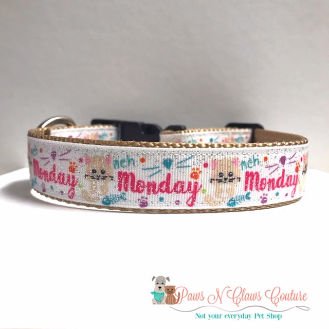 "1"" Med Monday Dog Collar - Paws N Claws Couture"