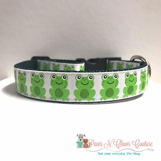 "1"" Glitter Frogs Dog Collar - Paws N Claws Couture"