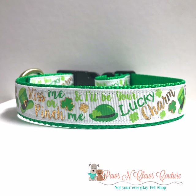 "1"" Kiss me or Pinch me and Ill be your Lucky Charm Dog Collar"