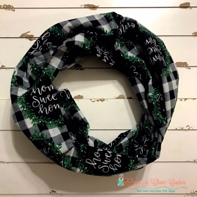 Home Sweet Home Buffalo Plaid Infinity Scarf - Paws N Claws Couture