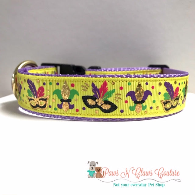 "1"" Mardi Gras Masks on Yellow Dog Collar"