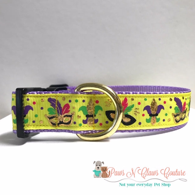 "1"" Mardi Gras Masks on Yellow Dog Collar - Paws N Claws Couture"