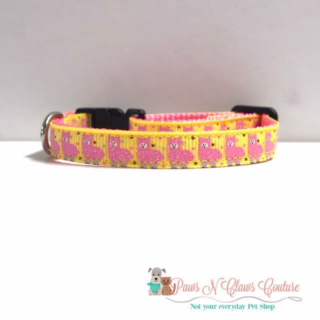 "3/8"" Pink Llamas Cat or Small Dog Collar - Paws N Claws Couture"
