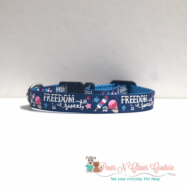 "3/8"" Freedom is Sweet Cat or Small Dog Collar - Paws N Claws Couture"