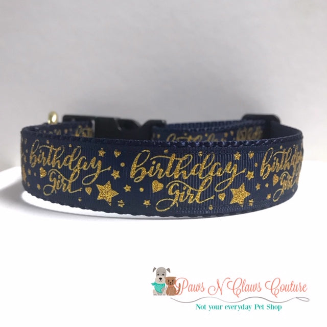 "1"" Glitter Birthday Girl on Navy Dog Collar - Paws N Claws Couture"