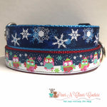 "1"" Snowflakes on Navy or Owls Playing in Snow Dog Collar - Paws N Claws Couture"