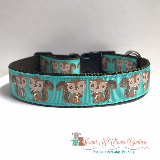 "1"" Acorns or Squirrels Dog Collar - Paws N Claws Couture"
