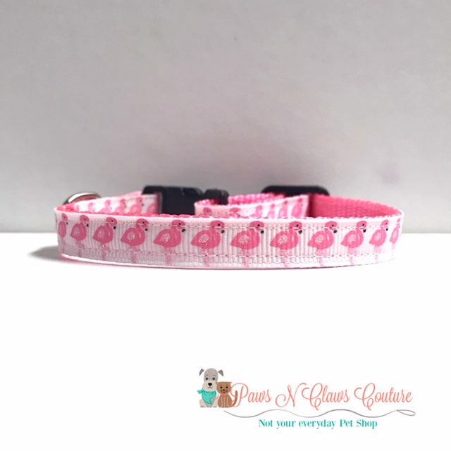 "3/8"" Glitter Pink Flamingos Cat or Small Dog Collar - Paws N Claws Couture"