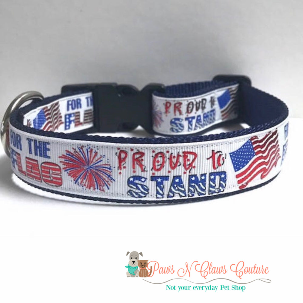 "1"" Proud to stand for the flag Dog Collar - Paws N Claws Couture"