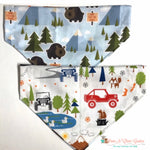 Reversible off roading but don't feed the bears, blue Bandana - Paws N Claws Couture