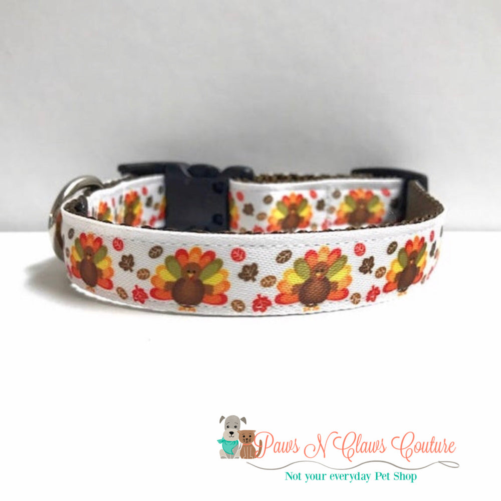 "5/8"" Turkeys and leaves Dog Collar"