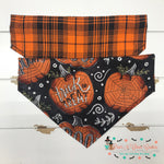 Reversible plaid and spider pumpkins Bandana - Paws N Claws Couture