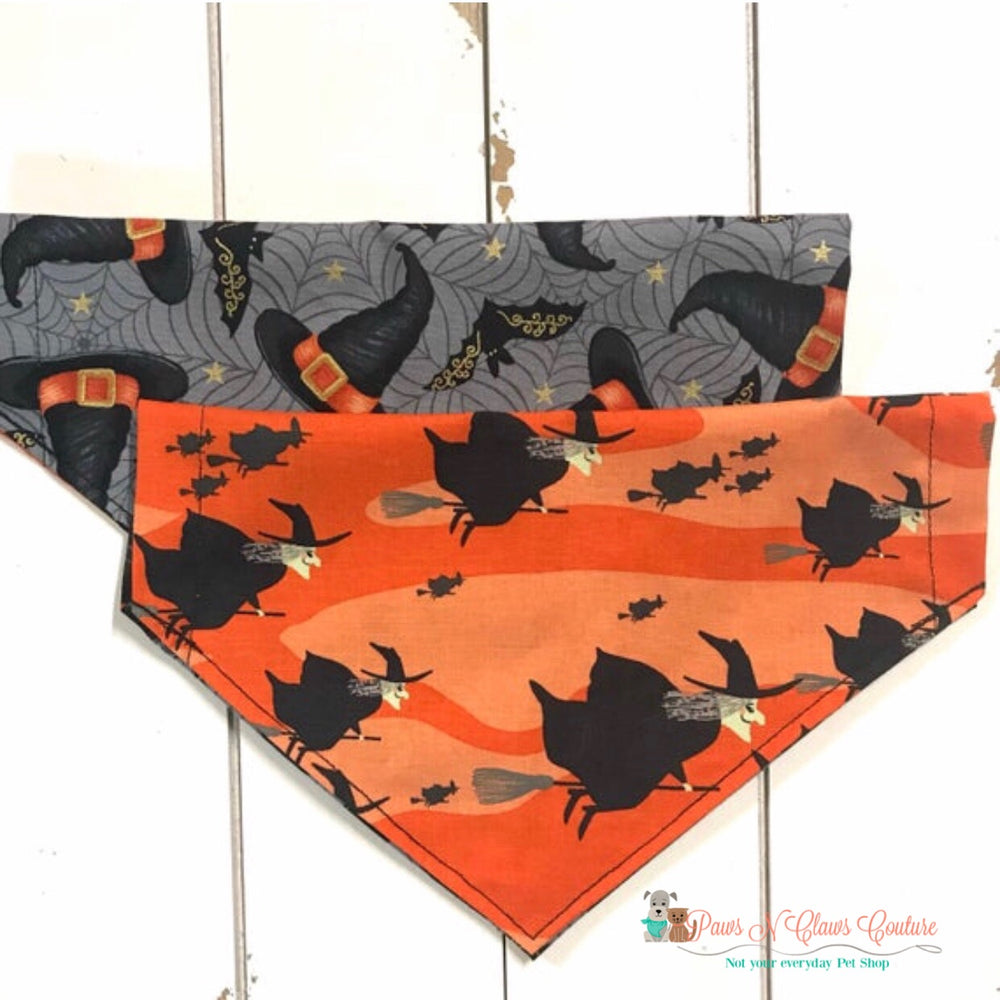 Reversible flying witches and hats Bandana - Paws N Claws Couture