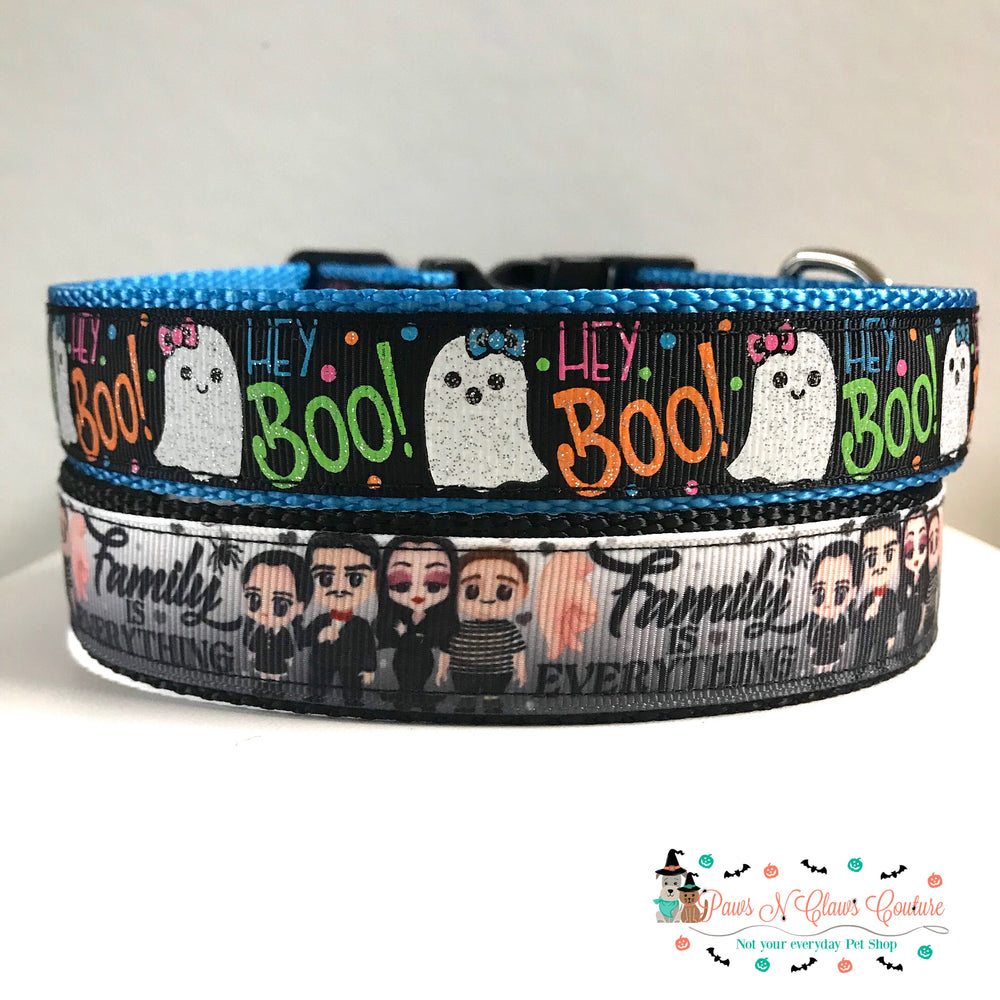 "1"" Hey boo or family is everything Dog Collar"