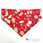 Christmas fun on red Bandana - Paws N Claws Couture