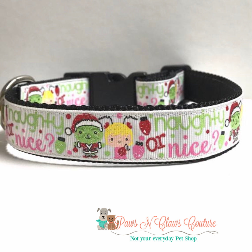 "1"" Naughty or nice Dog Collar - Paws N Claws Couture"