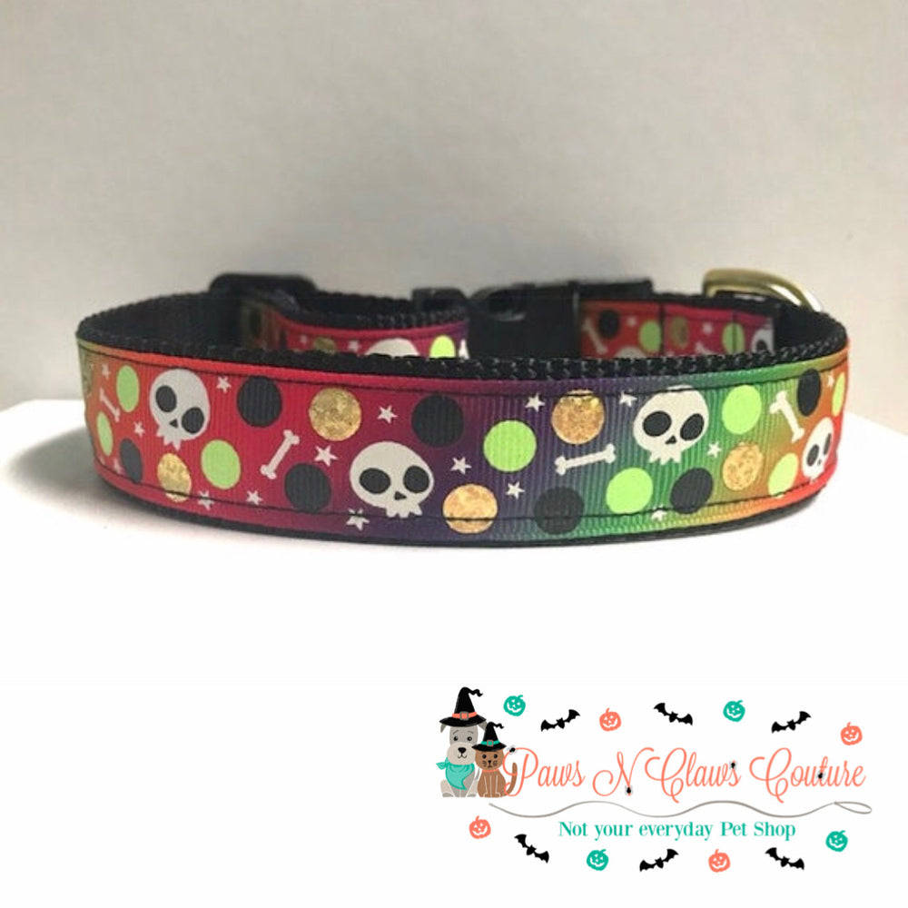 "1"" Skulls & Dots Dog Collar - Paws N Claws Couture"