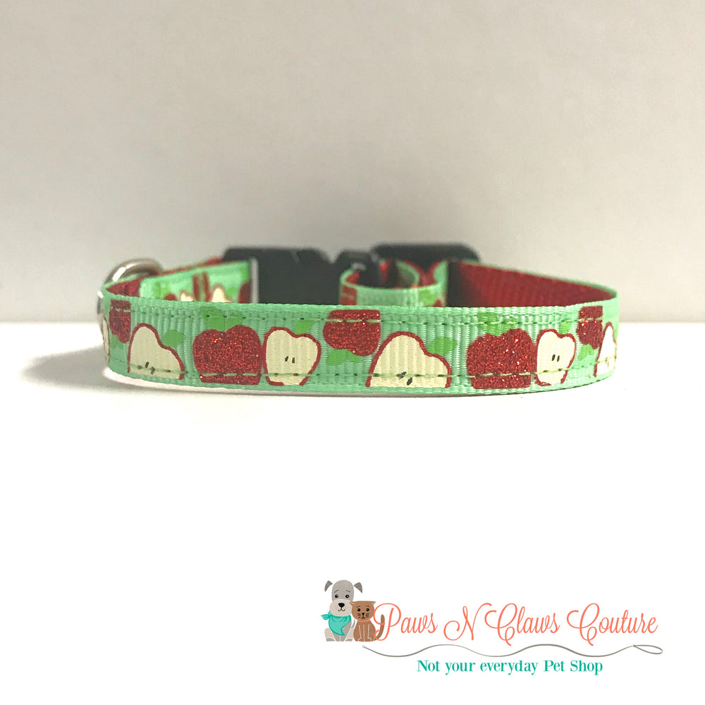 "3/8"" Fall apples Cat or Small Dog Collar"