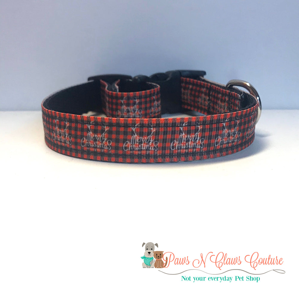 "5/8"" Merry Christmas antlers Dog Collar - Paws N Claws Couture"
