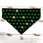 Green dots and gold clovers Bandana - Paws N Claws Couture
