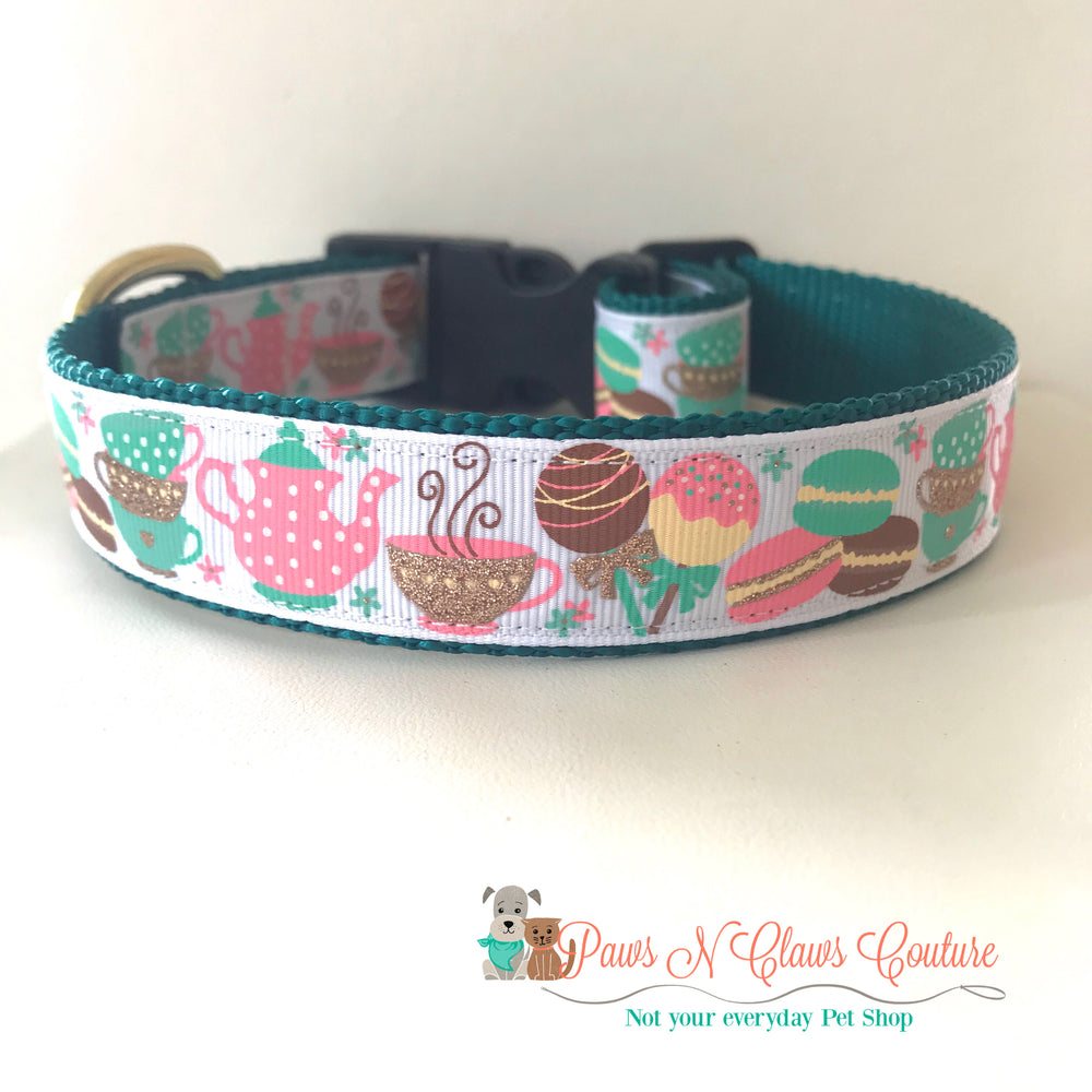 "1"" Tea time Dog Collar - Paws N Claws Couture"