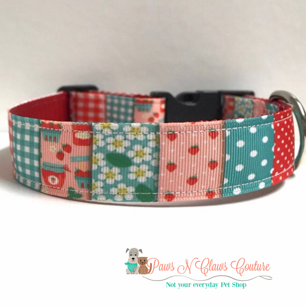 "1"" Strawberry patchwork Dog Collar, Leash Available"