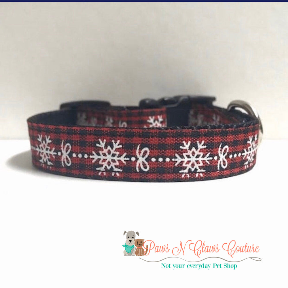 "5/8"" Snowflake and plaid Dog Collar"