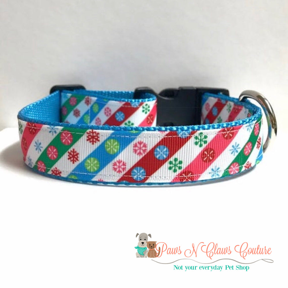 "1""  Snowflakes and stripes Dog Collar - Paws N Claws Couture"
