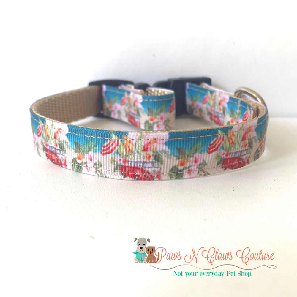 "5/8"" Beach days Dog Collar - Paws N Claws Couture"