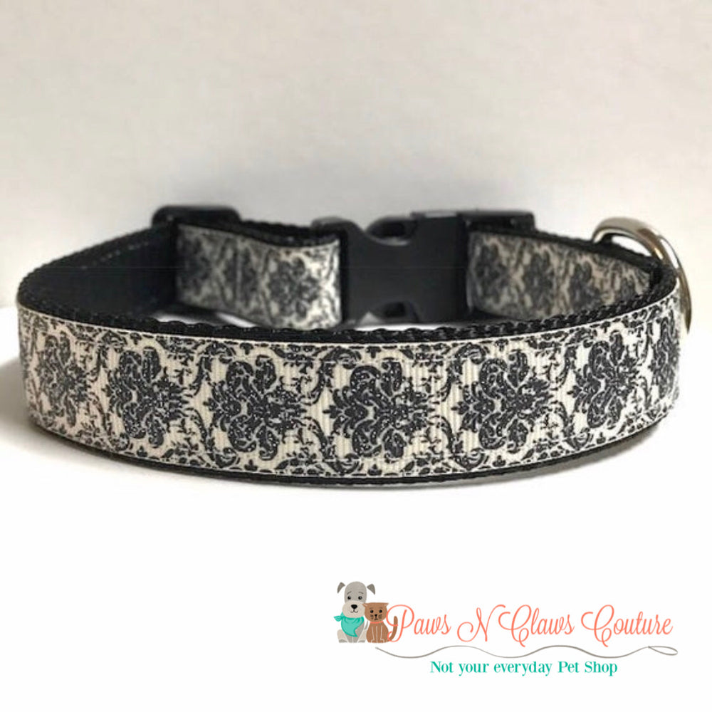 "1"" Black Damask Dog Collar - Paws N Claws Couture"
