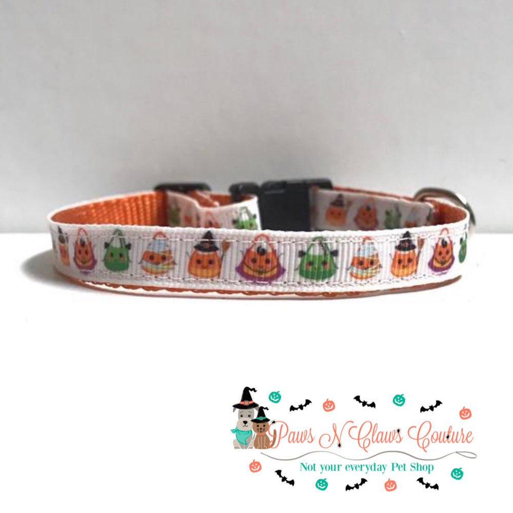 "3/8"" Candy corn in costumes Cat or Small Dog Collar - Paws N Claws Couture"