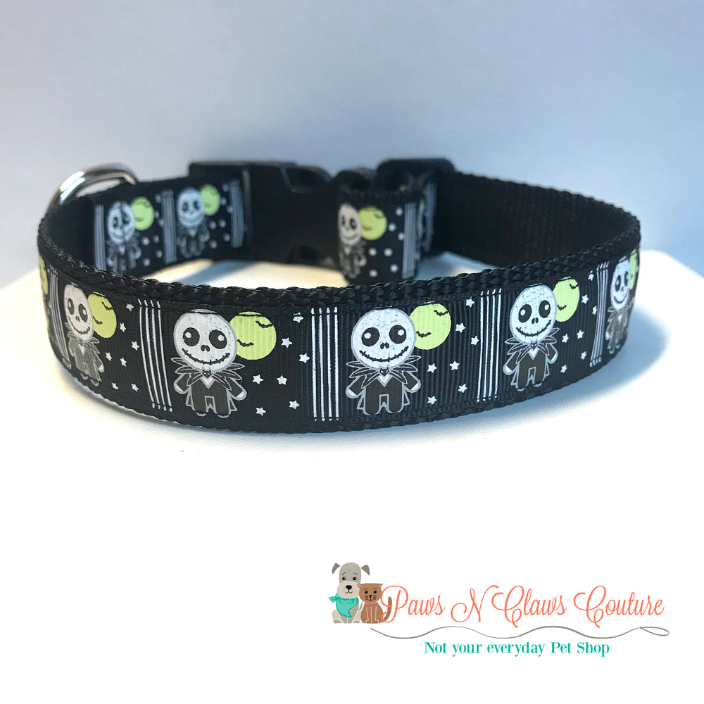"1"" Jack and full moon inspired Dog Collar - Paws N Claws Couture"
