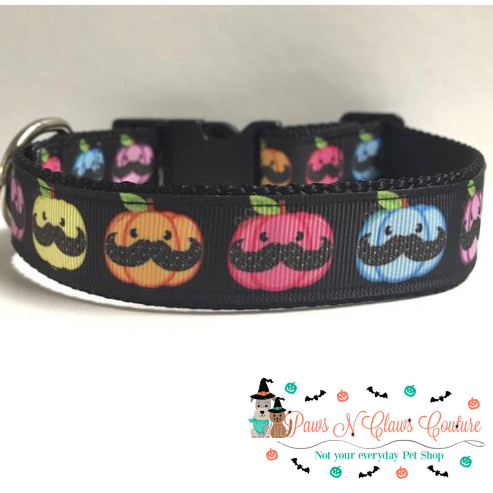 "1"" Mustache Pumpkins Dog Collar - Paws N Claws Couture"