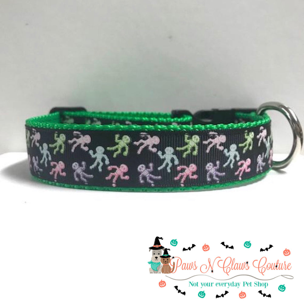 "1"" Mini skeletons Dog Collar - Paws N Claws Couture"