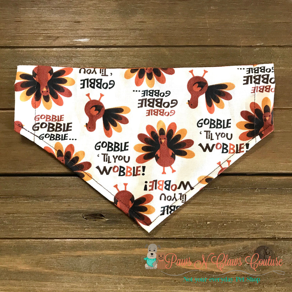 Reversible gobble til you wobble Bandana - Paws N Claws Couture