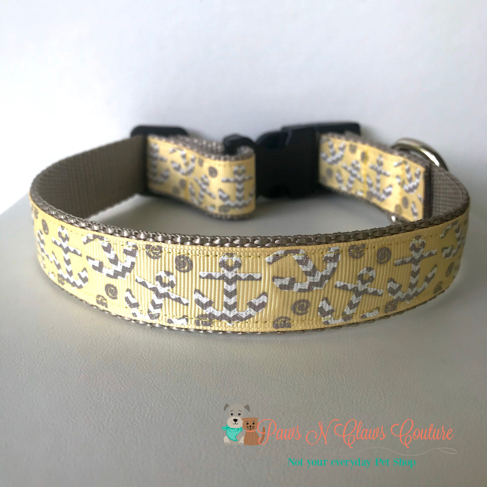 "1"" Grey Chevron anchors on yellow Dog Collar - Paws N Claws Couture"
