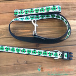 "1"" Glitter plaid clovers Dog Collar, Leash Available - Paws N Claws Couture"